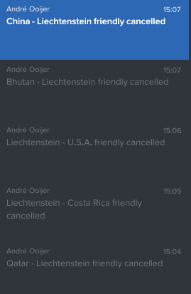 95 3 5 friendlies cancelled