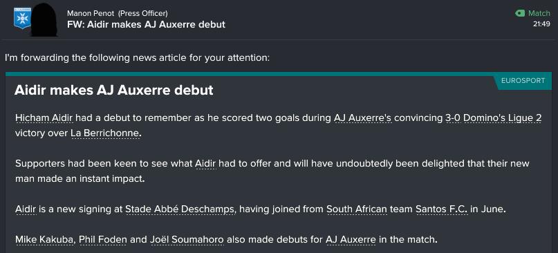 122 2 1 aidir makes debut