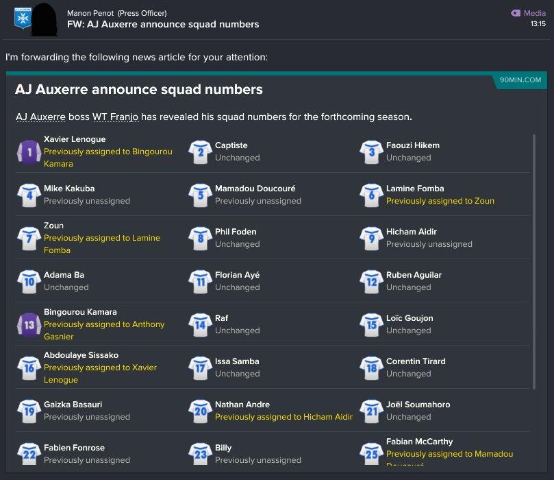 146 1 86 squad numbers